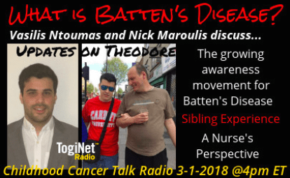 Theodore's Brother, Vasilis, and Nick Maroulis, discuss, with Janet Demeter, on Childhood Cancer Talk Radio